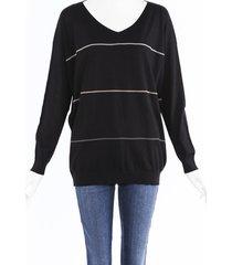 brunello cucinelli monili beaded sweater black sz: xl
