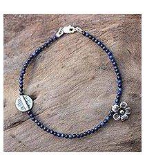lapis lazuli beaded bracelet, 'hill tribe river' (thailand)