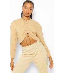 geplooide oversized sweater, camel