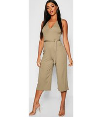 jumbo ribbed self belt culotte jumpsuit, khaki