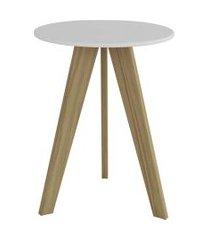 mesa lateral retrô branco/carvalho peroba