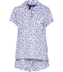 lrl notch collar pj boxer set s/sl pyjamas vit lauren ralph lauren homewear