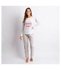 pijama feminino poliester do it with passion branco com mescla