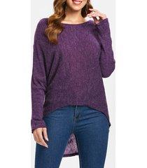 dolman sleeve asymmetrical pullover sweater