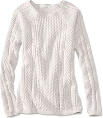 cotton cable-stitch sweater, natural heather, x large