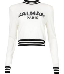 cropped mesh logo sweater white and black