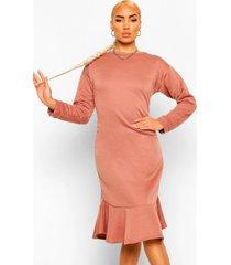 midi sweatshirt jurk met franjezoom, rose