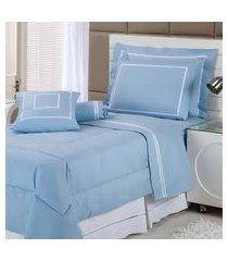 enxoval cama solteiro 200 fios 7 peças azul my prince plumasul