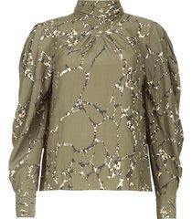 blouse met print mocean  groen