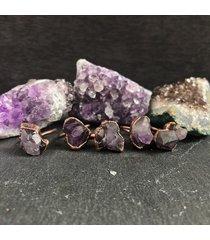 duży pierścionek z fioletową druzą ametystu