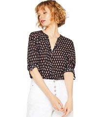 blusa de cuello henley 100% algodón negro esprit