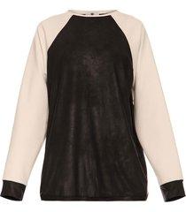 bluza z rękawami ecru czarna