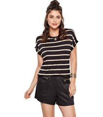 blusa modisch gold stripe preto