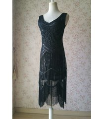 black retro style sleeveless beaded sequin dress tassel short evening dress nwt