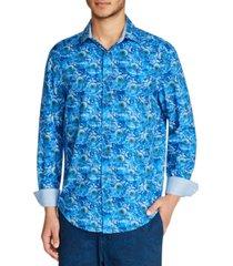 tallia men's slim fit 4-way stretch sunflower print long sleeve shirt