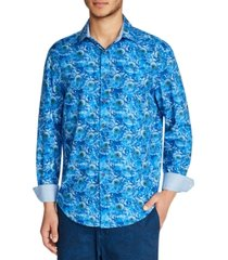 tallia men's slim fit 4-way stretch sunflower print long sleeve shirt