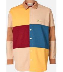 drôle de monsieur men's fleece colour block shirt - multi - xl