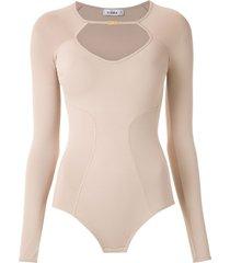 amir slama long sleeved bodysuit - neutrals