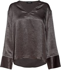 lucienne metallic drapy blouse lange mouwen bruin j. lindeberg