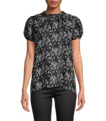 kenzo women's floral puff-sleeve top - black - size 36 (4)