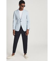 reiss orient - cotton linen blend slim fit blazer in light blue, mens, size 46