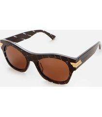 bottega veneta women's intrecciato print rectangle acetate sunglasses - brown