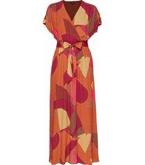 slfwinnie sl ankle dress ex maxi dress galajurk oranje selected femme