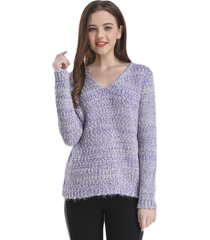sweater cuello v jaspeado lila nicopoly