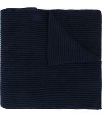 jil sander ribbed knit scarf - blue