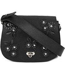 bolsa couro luiza barcelos mini bag flowers feminina