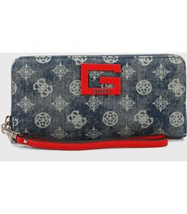 billetera azul denim-rojo guess