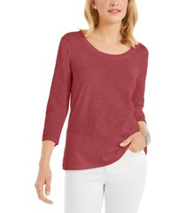 style & co 3/4-sleeve scoop-neck top, created for macy's