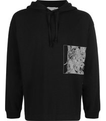 1017 alyx 9sm graphic print cotton hoodie - black