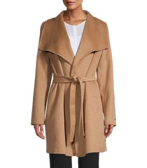 tahari women's ella wrap coat - deep charcoal - size s
