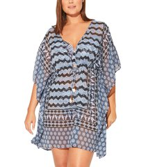 plus size women's bleu by rod beattie island time chiffon cover-up caftan, size 1x - blue