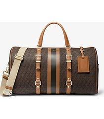 mk borsa per il weekend bedford travel extra-large con righe e logo - marrone - michael kors