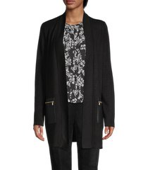 calvin klein women's knit faux-leather cardigan - black - size s