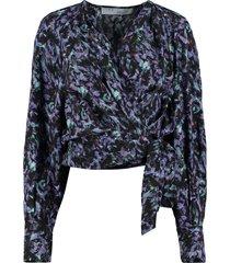 iro printed wrap-blouse