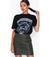 only onlbase faux leather skirt otw noos kjolar mörk grå