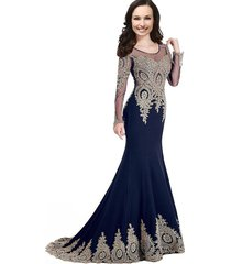 illusion sheer long sleeves beaded gold lace crystals mermaid prom evening dress