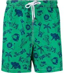 kiton short de natação com estampa de elefante - verde
