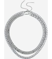 *chunky two row chain necklace - silver