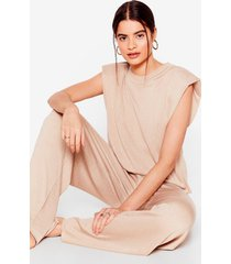 womens get on knit tee and wide-leg pants lounge set - stone