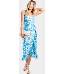 brenda lace faux wrap dress - blue