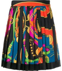 multicolored pleated mini skirt