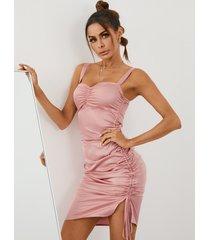 yoins espagueti con cordón y dobladillo con abertura y pliegues mini vestido