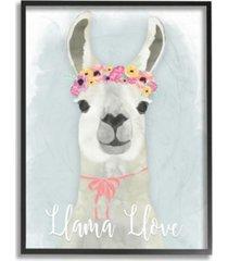 "stupell industries llama love pink flower tiara framed giclee art, 11"" x 14"""