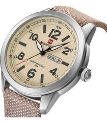 reloj cuarzo ronda clasica hombre naviforce militar fechador