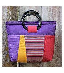cotton and mahogany handbag, 'keraton purple' (indonesia)