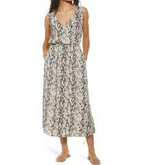 women's treasure & bond print sleeveless midi dress, size x-small - grey